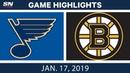 NHL Highlights | Blues vs. Bruins - Jan. 17, 2019