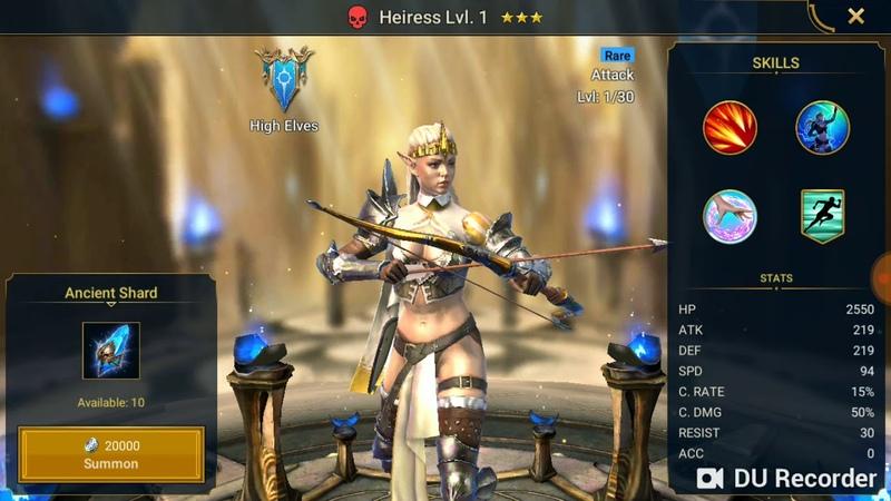 Выпадение Легендарного героя из 13 синих шардов в игре RAID: Shadows legends (beta)