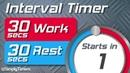 30 sec work 30 sec rest Interval Timer (30/30 interval timer) up to 60 reps