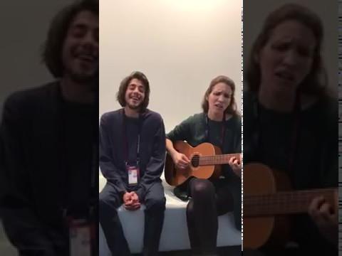 Salvador Sobral and Luisa Sobral singing Blanche - City Lights 2017 ESC Belgium entry