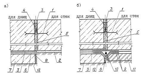 Типовые узлы температурно-усадочных швов на стенах здания