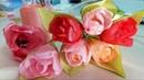 ТЮЛЬПАНЫ из атласных лент для букета. Нежные цветы DIY.