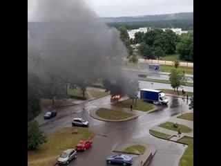 В гродно утром 9 июля горел автомобиль peugeot 306