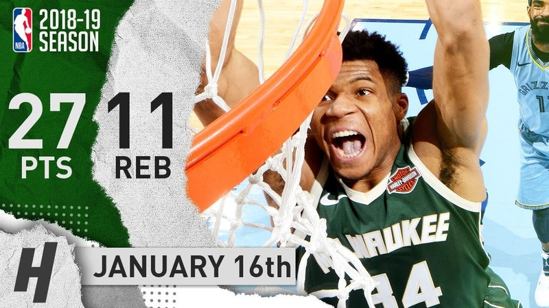 Giannis Antetokounmpo Full Highlights Bucks vs Grizzlies 2019.01.16 - 27 Pts, 3 Ast, 11 Rebounds!