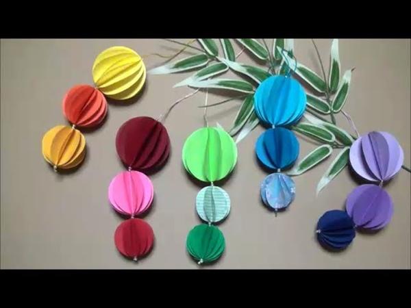 画用紙・折り紙 七夕飾り ボールの作り方 DIY Drawing paper · Origami How to make Tanabata decorative ball