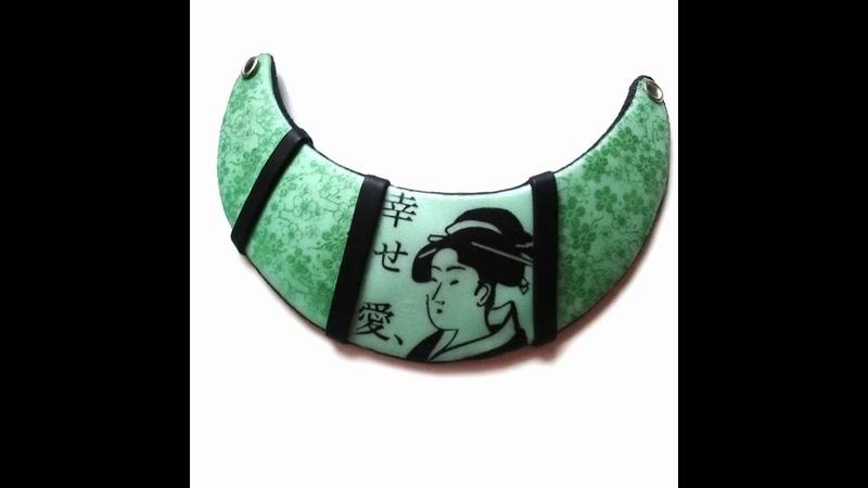 Tuto fimo polymer CLAY plastron geisha japonisant pochoir japon Graine Créative