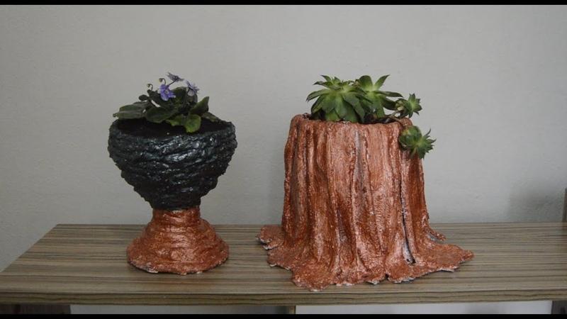 Çimento ve Kumaş ile Saksılar-4
