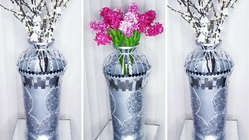 Diy Tall Metallic Floor Vase Quick and Easy 5 minutes Home Decorating Hack