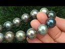 Estate Certified Natural Tahitian Pearl VS Diamond 18k White Gold Necklace - C796