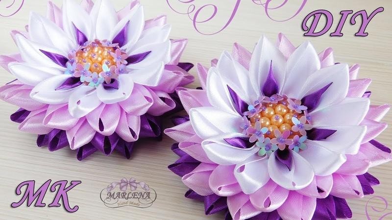 🌺 Цветы из узких лент с красивой серединкой. Канзаши МК/DIY 👐