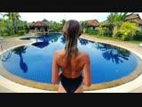 beatiful girl and swimming pool