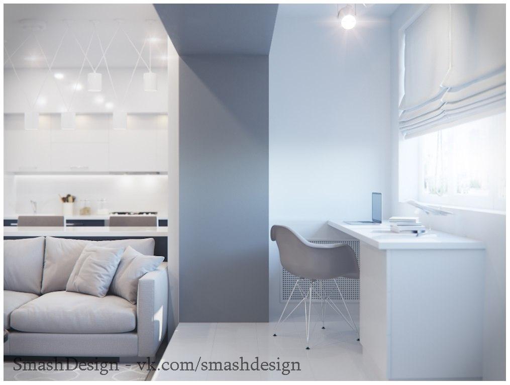 Небольшая квартира-студия в светлых тонах
