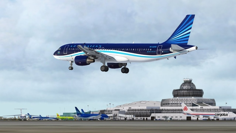 Prepar3D_Azerbaijan Airlines flight from Moscow (DME) to Baku (GYD) on Airbus A320