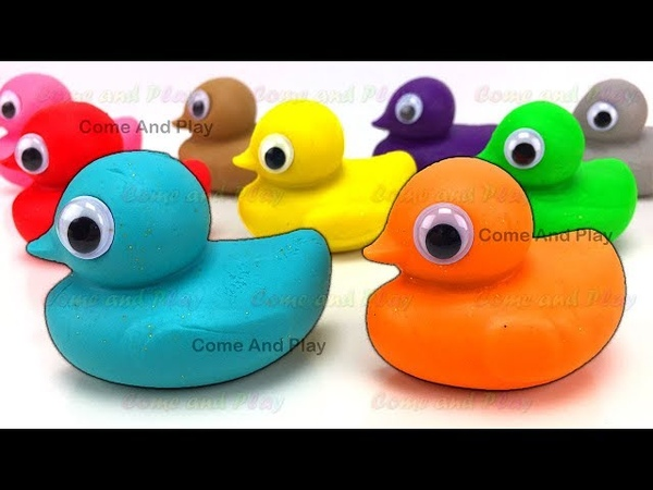 Learn Colors with Play Doh Ducks and Disney Molds with Surprise Toys