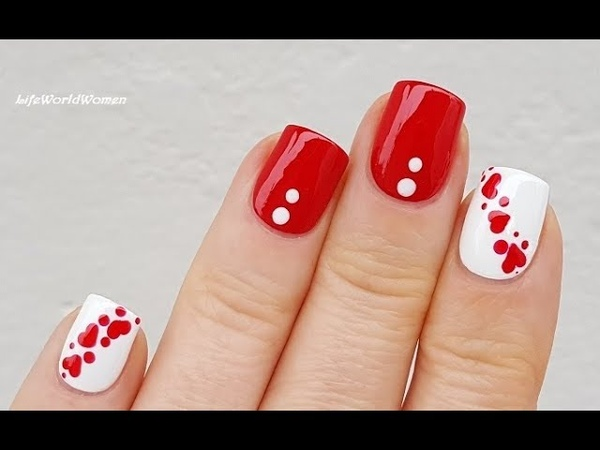 DOTTING TOOL NAIL ART 12 / Red White Valentine's Day Heart Nails