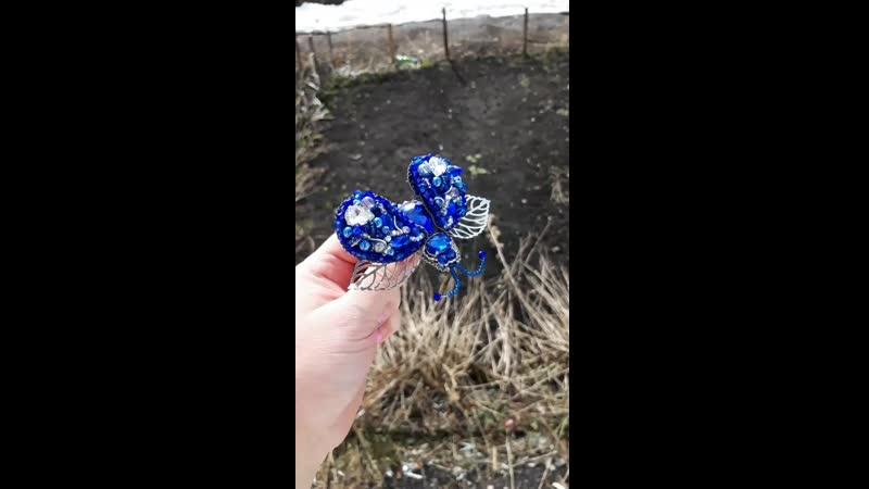 💙Мой первый 3Д жук в безумно красивом синем цвете💙 Ох и нелегко он мне дался но теперь я понимаю что делать обычные броши это ле