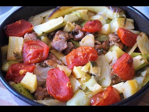 Овощное рагу с мясом в духовке без обжарки/Ragout of vegetables with meat in the oven
