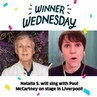 """Omaze on Instagram """"Congrats to Natalia S. from Helsinki, Finland, who'll """"get back"""" to Liverpool with Paul McCartney—all thanks to her $10 donati..."""