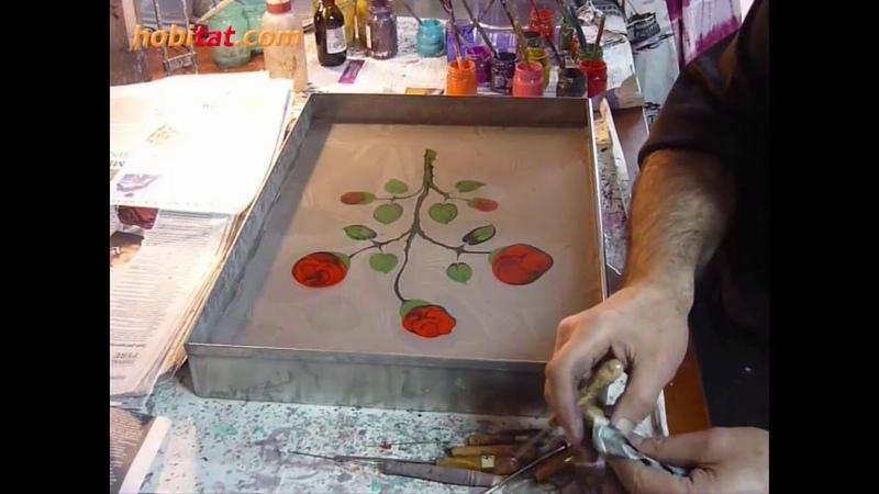 Ebru sanatında gül nasıl yapılır... Sanatçı : Sezai Temel