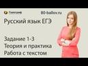 Русский язык ЕГЭ 2019. Задание 1-3. Теория и практика. Работа с текстом
