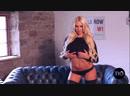 Sexy blonde Cara Brett in black lingerie
