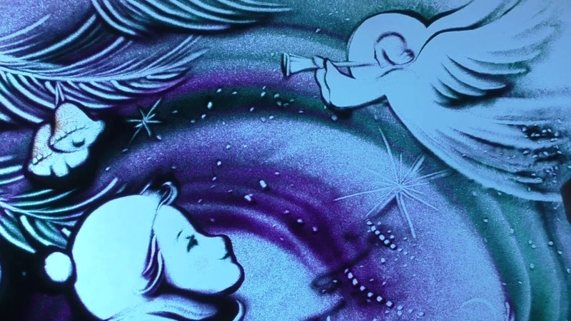 Новогоднее песочное шоу, художник Анна Ива » Freewka.com - Смотреть онлайн в хорощем качестве