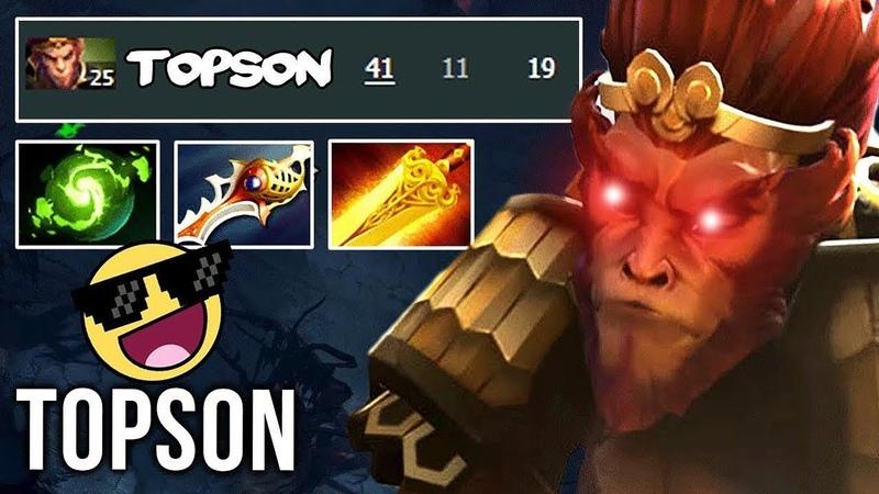 TI8 Winner Topson EPIC Monkey King UNREAL 41 Kills Divine Rapier Refresher New Meta Build - Dota 2