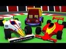Грузовик Тема соберет гоночный болид. Устроим кольцевые автогонки. Мультики про машинки.