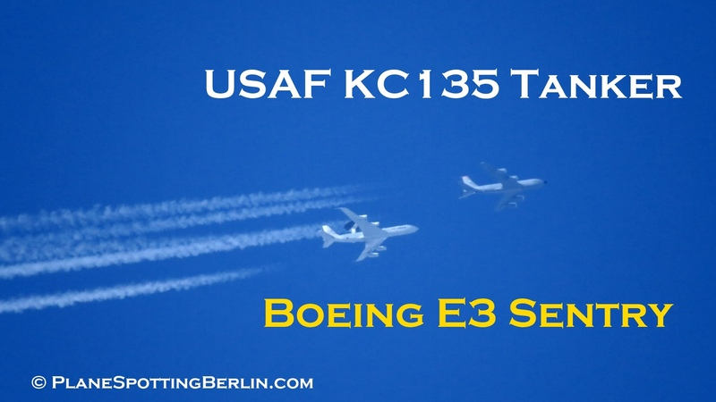 Extremely Rare Boeing E3 Sentry and USAF KC135 Tanker Contrails Simultaneously Full HD