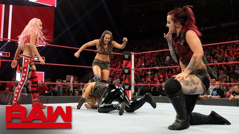 The Riott Squad hit Natalya with the Hart Attack Raw, Nov. 12, 2018