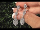 White Diamond Cocktail Earrings 18k White Gold Certified VS/SI F-G Color 1.92 TCW - C1188