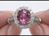 GIA 4.17 ct UNHEATED Natural VVS Pink Spinel Diamond 18k Gold Estate Ring Top GEM C975