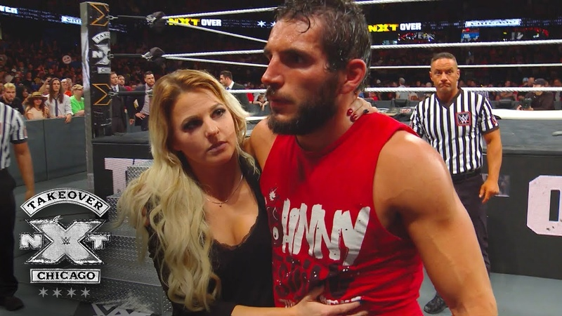 Candice LeRae helps a battered Johnny Gargano from the ring WWE Exclusive June 16 2018