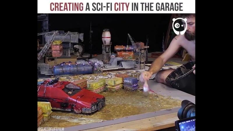 Bored Panda Art - Creating a sci-fi city in the garage