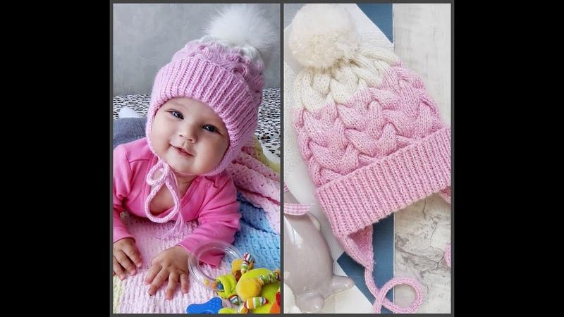 шапкаспицами ЧАСТЬ 1 Вяжем вместе детскую шапку , с двойными ушками , с вязаным подкладом.