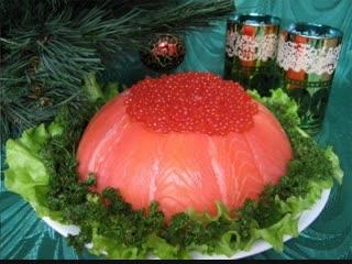 Закусочный торт с красной рыбой