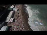Ludwig van Beethoven Over Yalta Beach Crimea. Drone footage