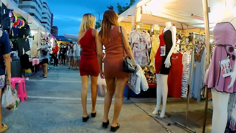 Thepprasit Night Market in Pattaya Two girls are shopping