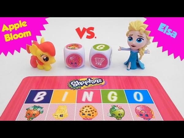Apple Bloom and Elsa Play SHOPKINS Big Roll Bingo - Who Will Win