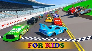 Race Cars 2 Daytona McQueen Chick Hicks The King DINOCO and All Cars Friends Videos for Kids Songs