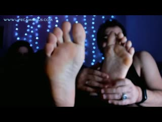 Femdom foot fetish close up. redhead mistress and submissive husband. lick her feet pov!