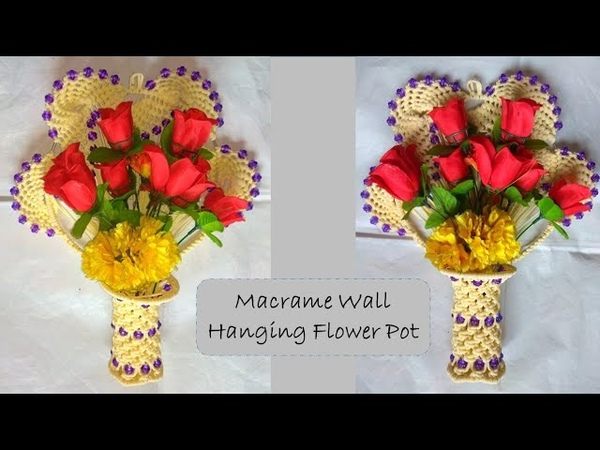 Macrame wall hanging flower pot | macrame wall decor DIY | easy step by step tutorial