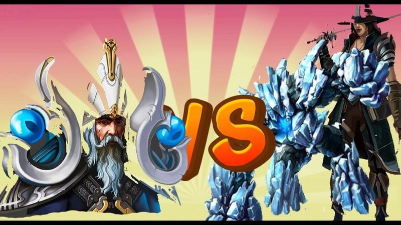 (Рыцари Битва Героев) Архимаг vs Леденой Голем и Истребительница Нежите