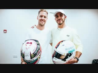 Lewis hamilton & sebastian vettel swap f1 helmets!