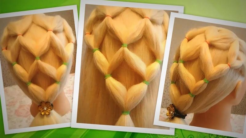 Сеточка из волос / Прическа из резинок для девочек / Красивая прическа для детей