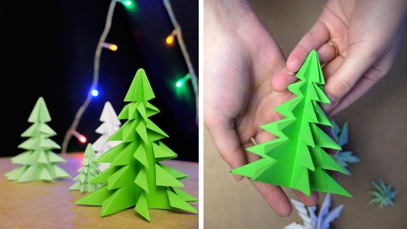 Новогодняя объемная елка своими руками (инструкция видео)