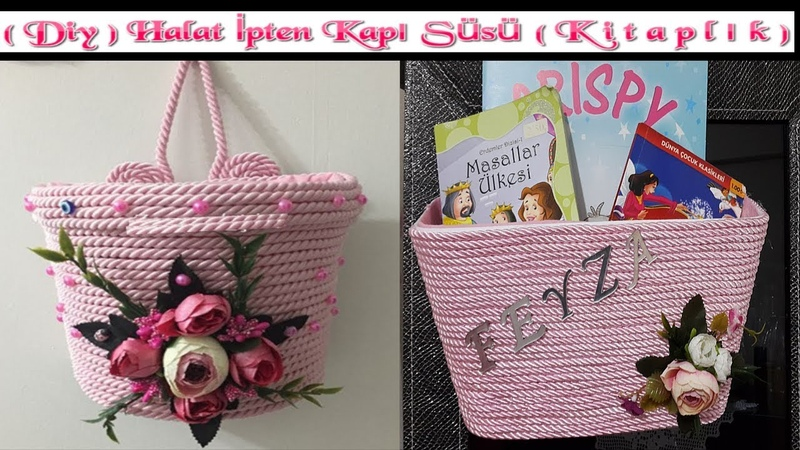 Diy Halat ipten Kapı Süsü Kitaplık Yapımı Crafts Art idea How To Make Wicker Rope home Decorations