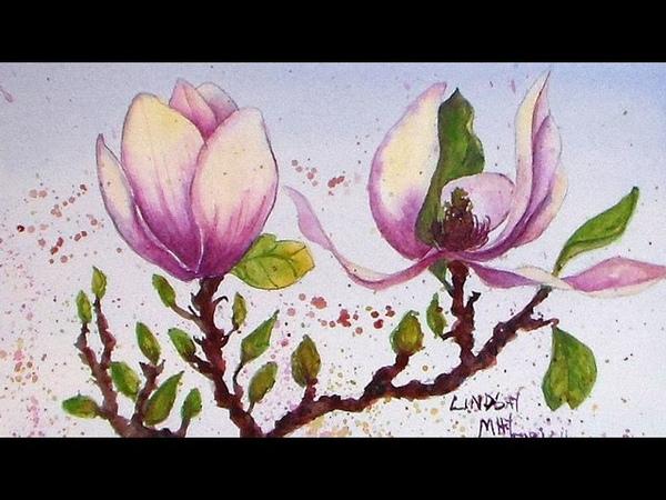 Magnolia Painting in Watercolor Tutorial