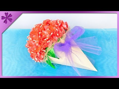 DIY How to make flower cone, gift for Teachers' Day (ENG Subtitles) - Speed up 401