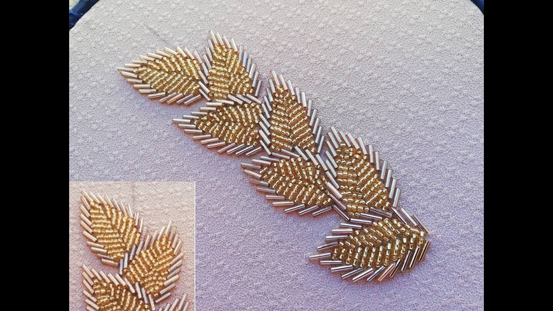 Hand embroidery,borderline Embroidery with long beads.